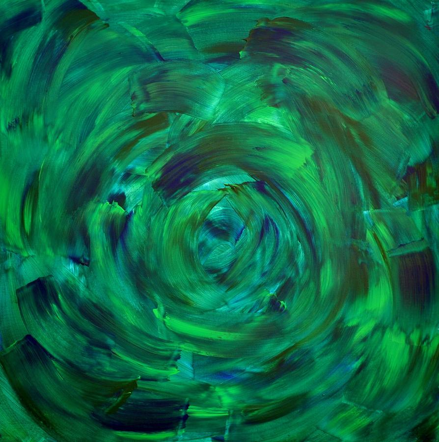 Green Painting - Green Spiral by Maria Laura Ortega