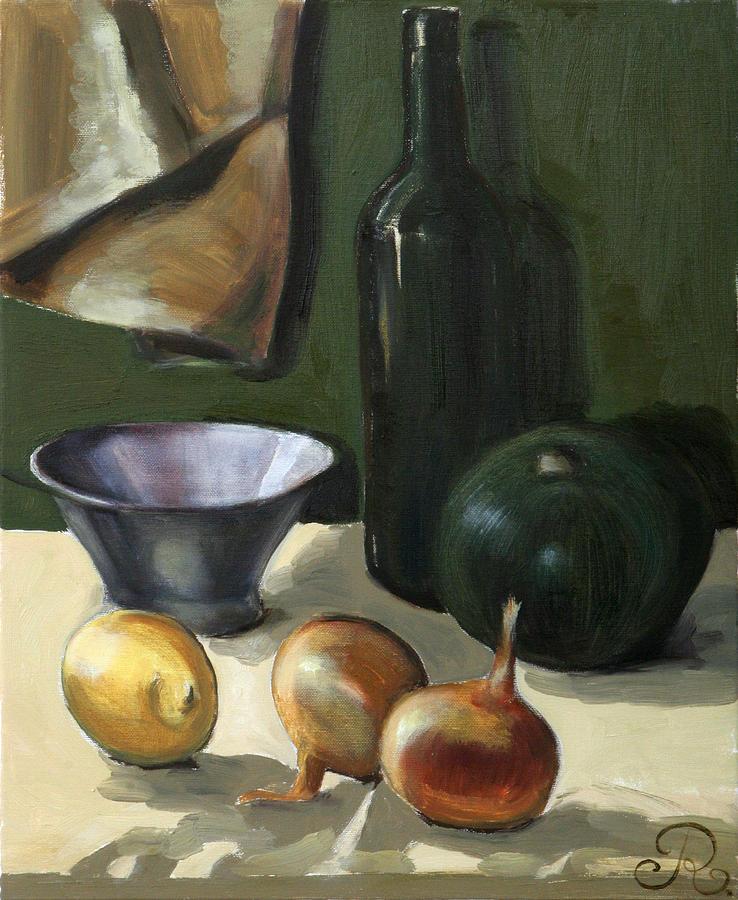 Green still-life Painting by Raimonda Jatkeviciute-Kasparaviciene