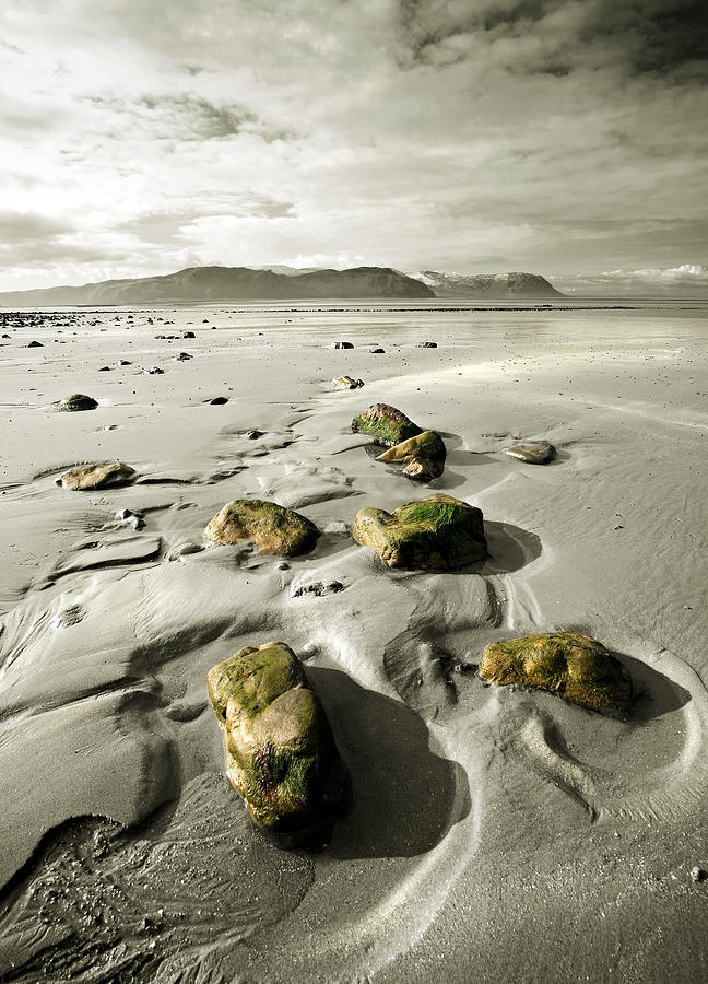 Beach Photograph - Green Stones On A North Wales Beach by Mal Bray