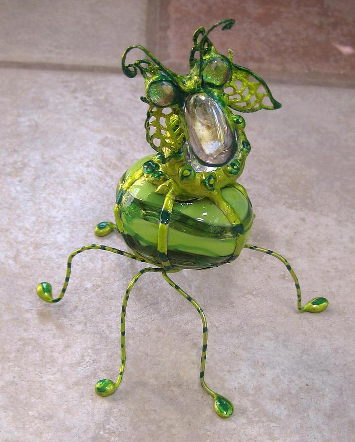 Stain Glass Sculpture - Green Stripe Bobble Bug by Maxine Grossman