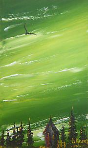 Houses Painting - Green Sunset by Gerardo Rivas Enriquez