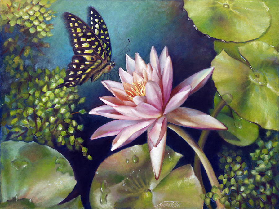 Water Lily Painting - Green Tailed Jay Butterfly And Water Lily by Nancy Tilles