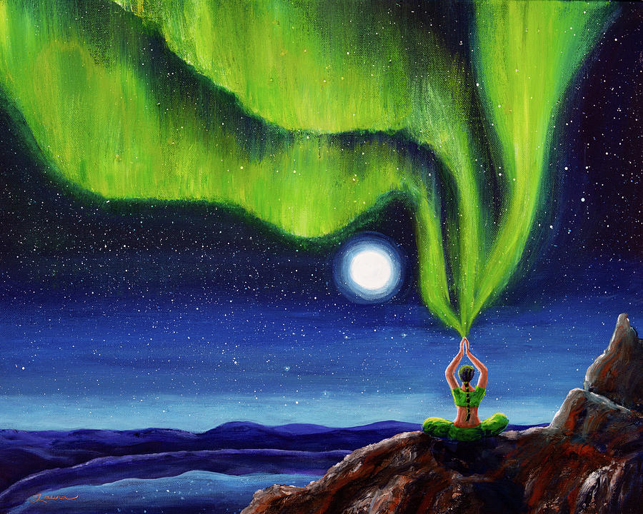 Northern Lights Painting   Green Tara Creating The Aurora Borealis By Laura  Iverson Good Looking