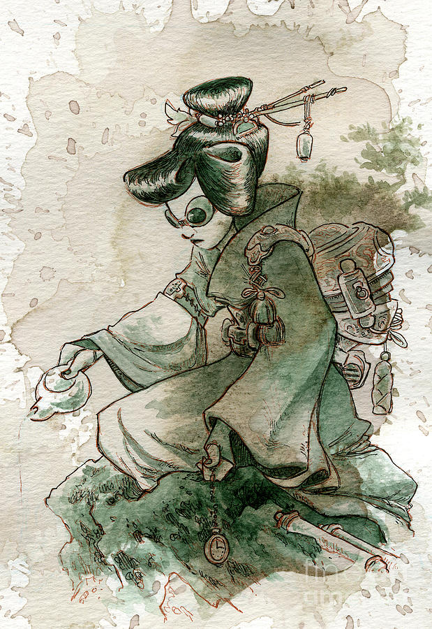 Steampunk Painting - Green Tea by Brian Kesinger