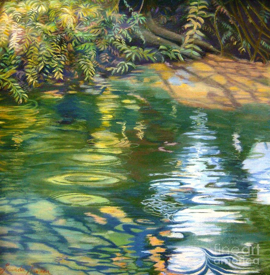 Water Painting - Green Treasure by Lucinda  Hansen