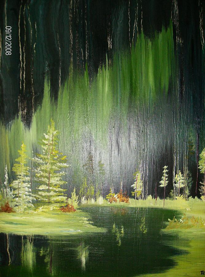 Pine Trees Painting - Green Trees by Terry Lash