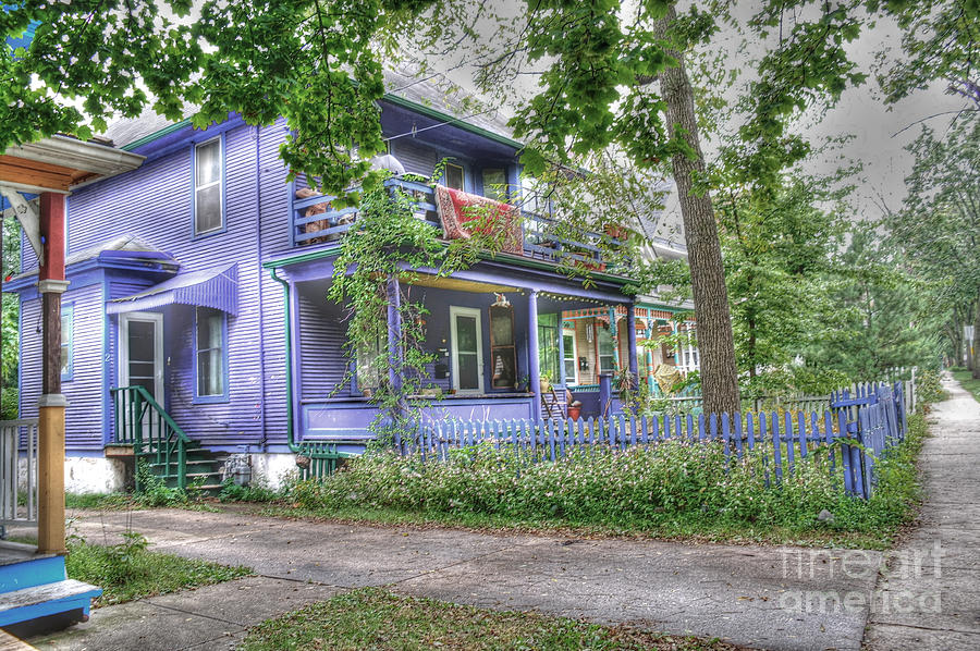 Purple House Photograph - Green Trim Gaudy-otherwise Understated by David Bearden