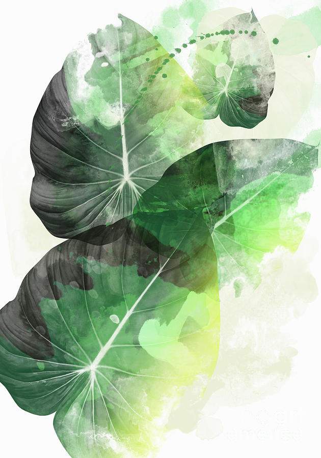 Leaves Pattern Painting - Green Tropical by Mark Ashkenazi