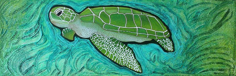Sea Turtle Painting - Green Turtle by Laura Barbosa