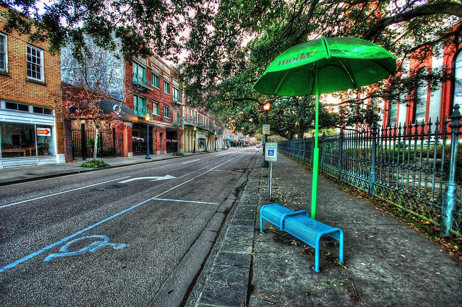 Alabama Digital Art - Green Umbrella Bus Stop by Michael Thomas