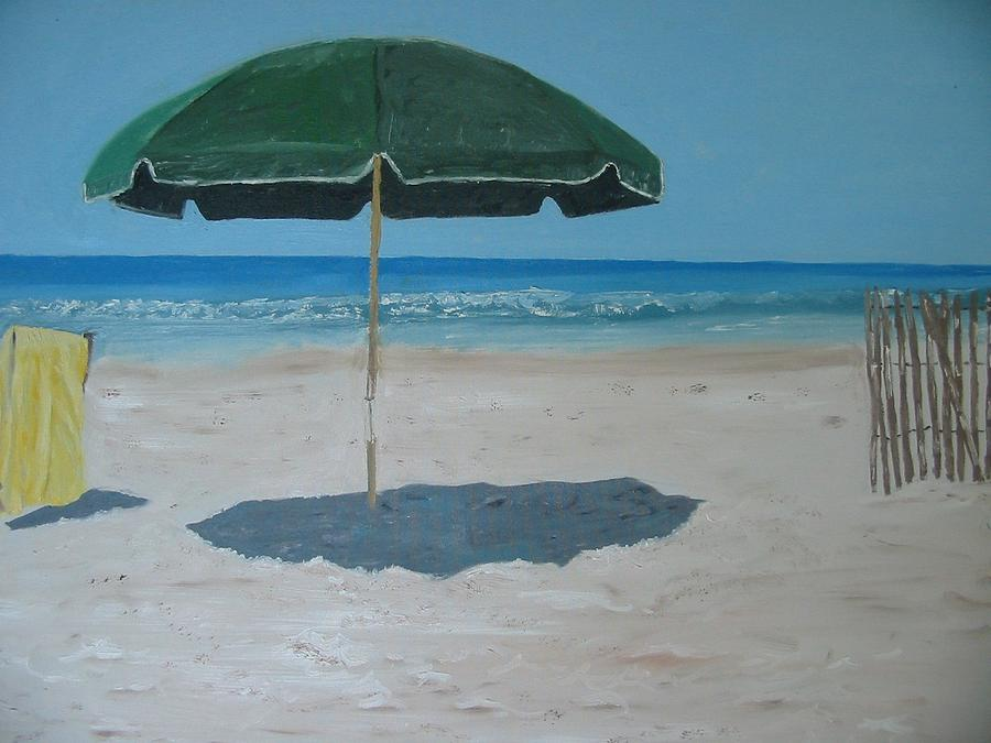 Seascape Painting - Green Umbrella by John Terry