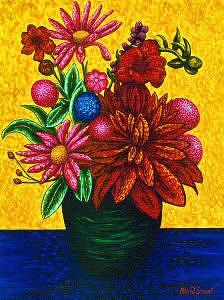 Floral Painting - Green Vase by Max R Scharf