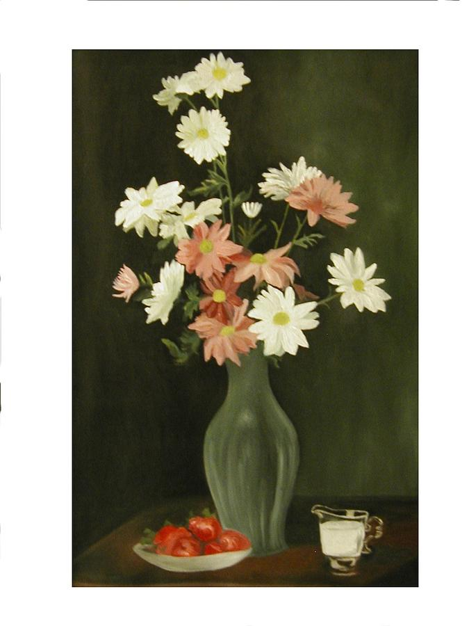 Still Life Painting - Green Vase With Flowers by Angelo Thomas