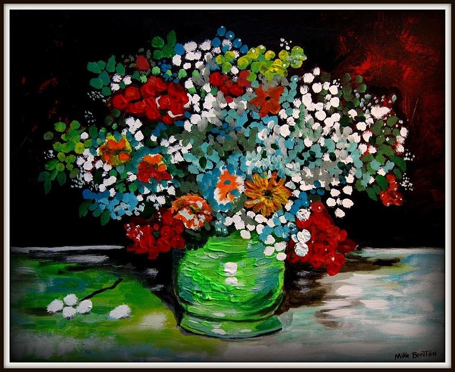 Green Vase with Flowers by Mike Benton