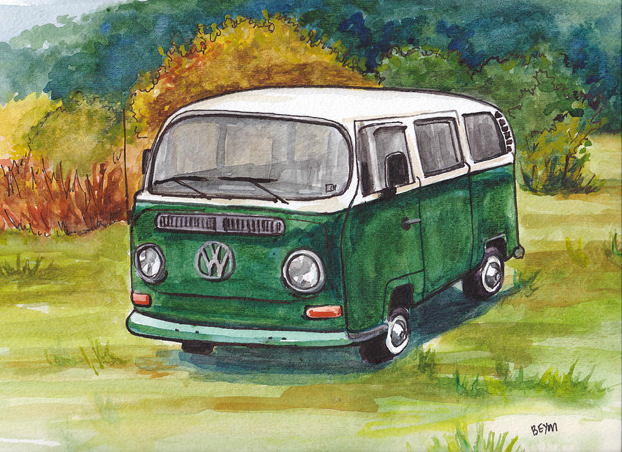 Green VW Bus by Clara Sue Beym