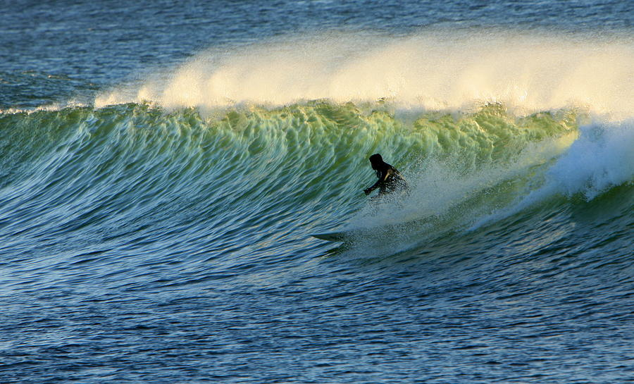 Surf Photograph - Green Wall Surfer by Mike Coverdale