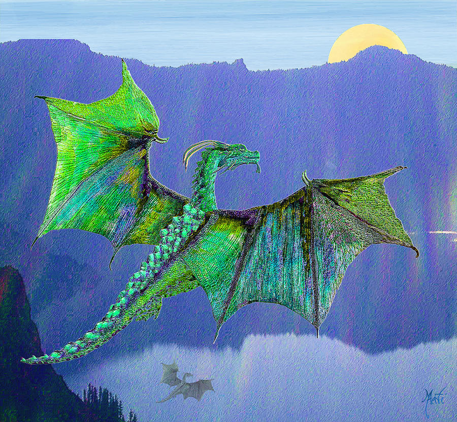 Green Water Crystal Soaring Celtic Dragon Digital Art
