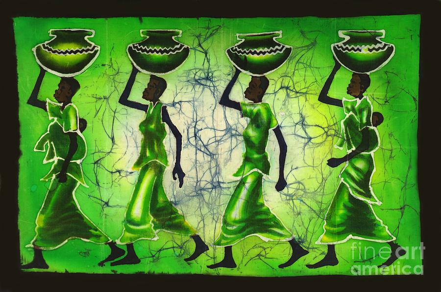 African Painting - Green Waves by Ted Samuel Mkoweka