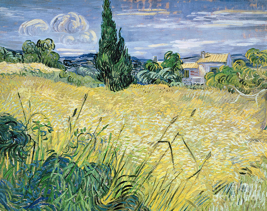 Vincent Van Gogh Painting - Green Wheatfield with Cypress by Vincent van Gogh