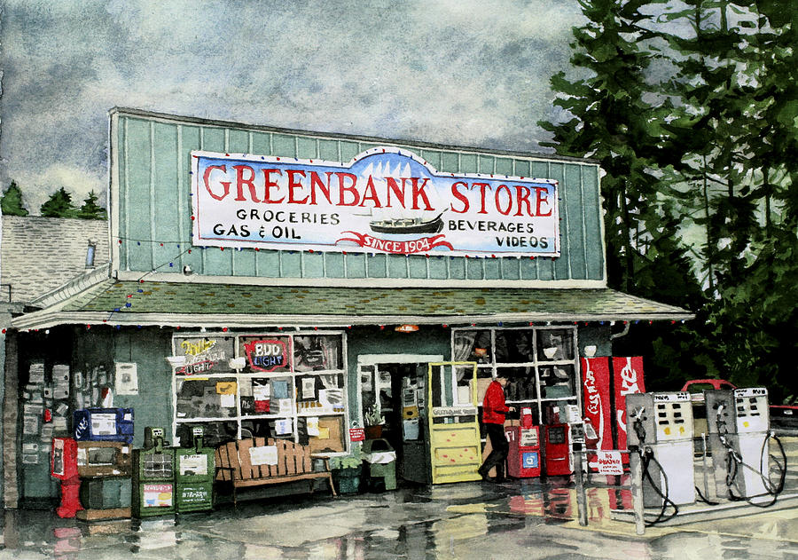 Gas Station Painting - Greenbank Store by Perry Woodfin