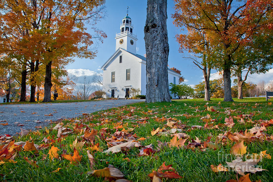 Autumn Photograph - Greenfield Church by Susan Cole Kelly