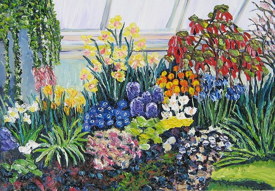 Flowers Painting - Greenhouse Flowers With Blue And Red by Richard Nowak