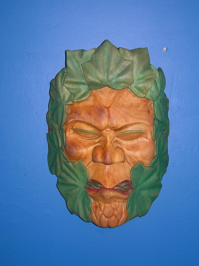 Wood Carving Sculpture - Greenman by Shane  Tweten