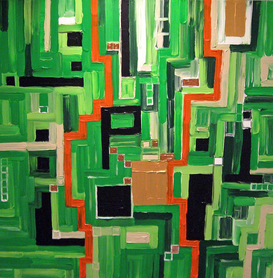 Modern Painting - Greens by Katerina Wagner
