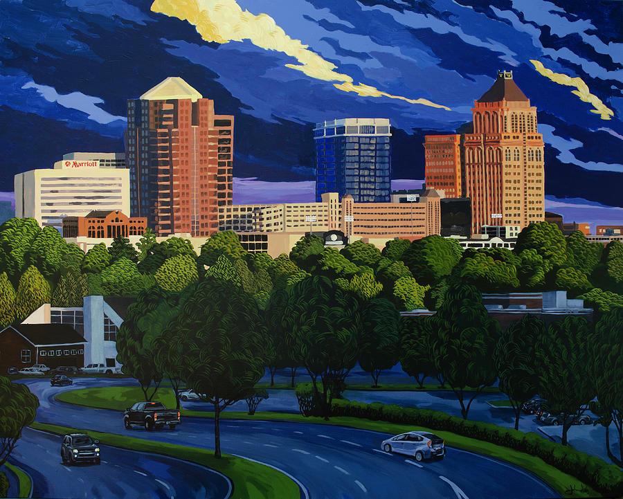 Greensboro Skyline in the Sunshine by John Gibbs