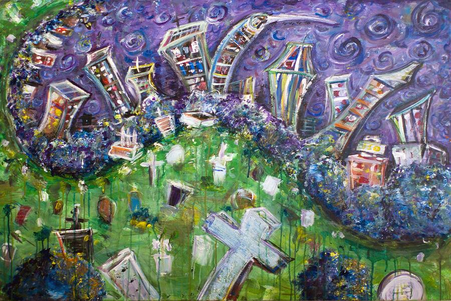 Greenwood Graveyard Brooklyn Painting by Jason Gluskin