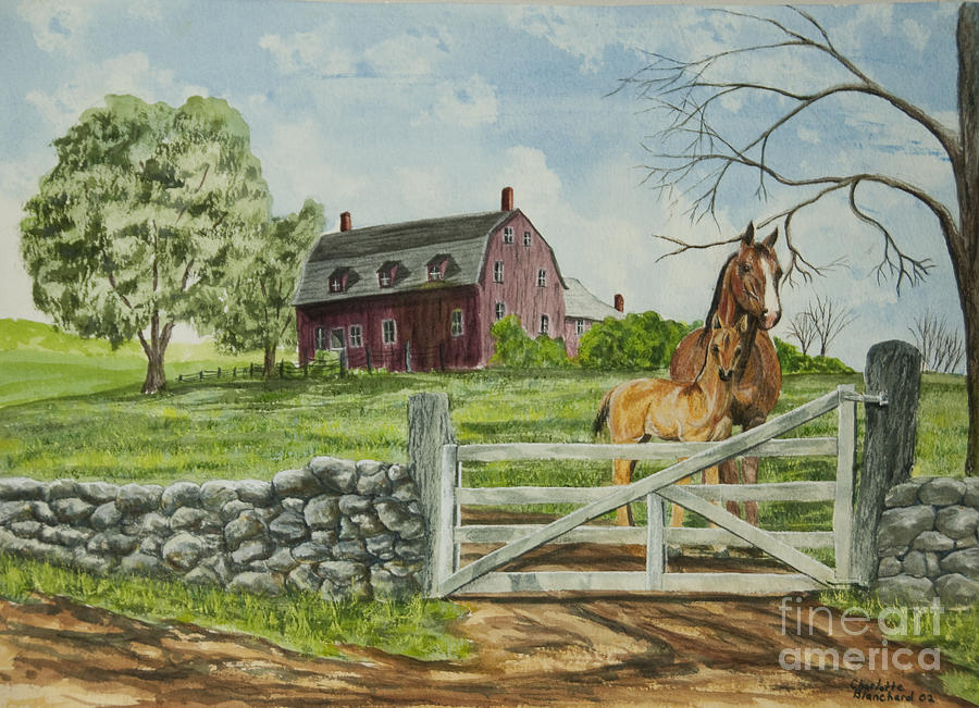 Horses Painting - Greeting At The Gate by Charlotte Blanchard