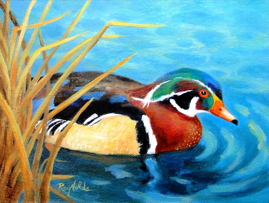 Wood Duck Painting - Greeting  The Morning  Wood Duck by Carol Reynolds