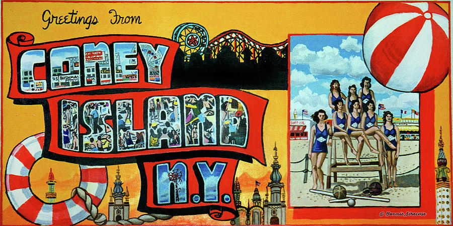 Greetings from coney island towel verson painting by bonnie siracusa coney island painting greetings from coney island towel verson by bonnie siracusa m4hsunfo