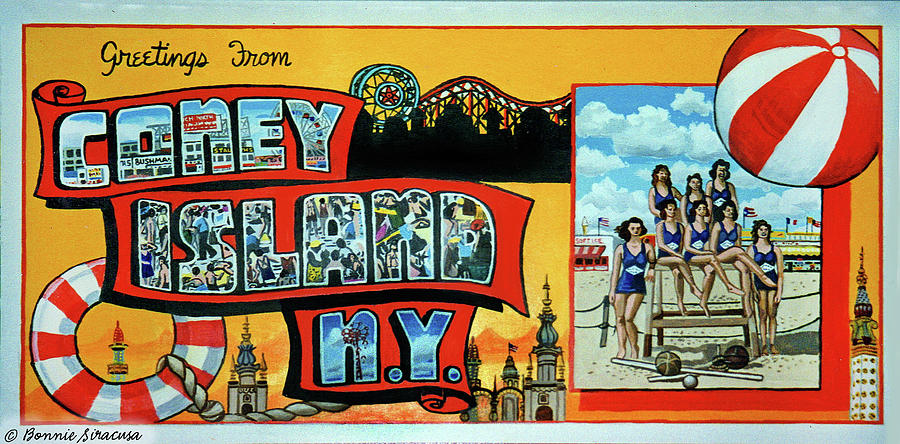Greetings from coney island ny towel version too painting by coney island painting greetings from coney island ny towel version too by bonnie siracusa m4hsunfo