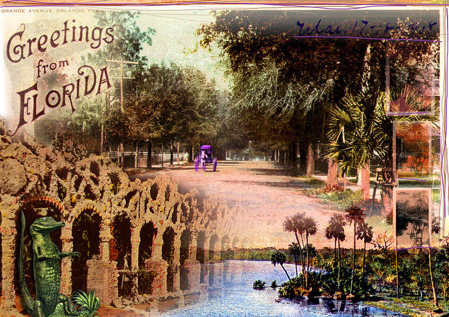Collage Photograph - Greetings From Florida by Deborah Hildinger