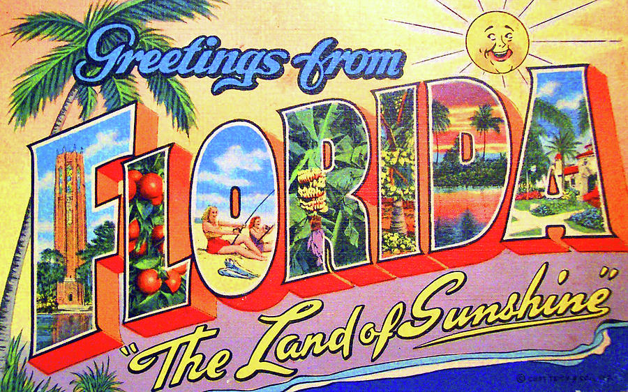Greetings Painting - Greetings From Florida, The Land Of Sunshine by Long Shot