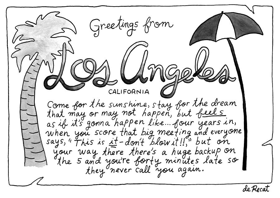 Greetings From Los Angeles Drawing by Olivia de Recat