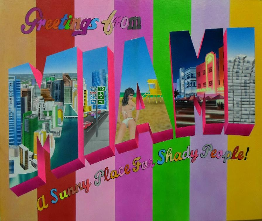 Miami Painting - Greetings From Miami by Brett Sauce