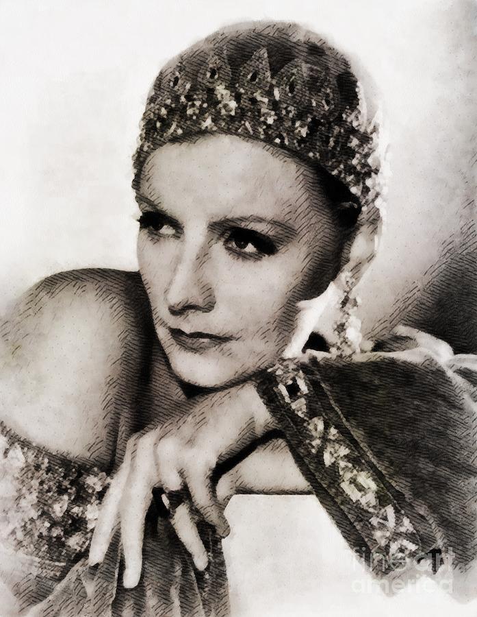 Greta Garbo, Vintage Actress Painting
