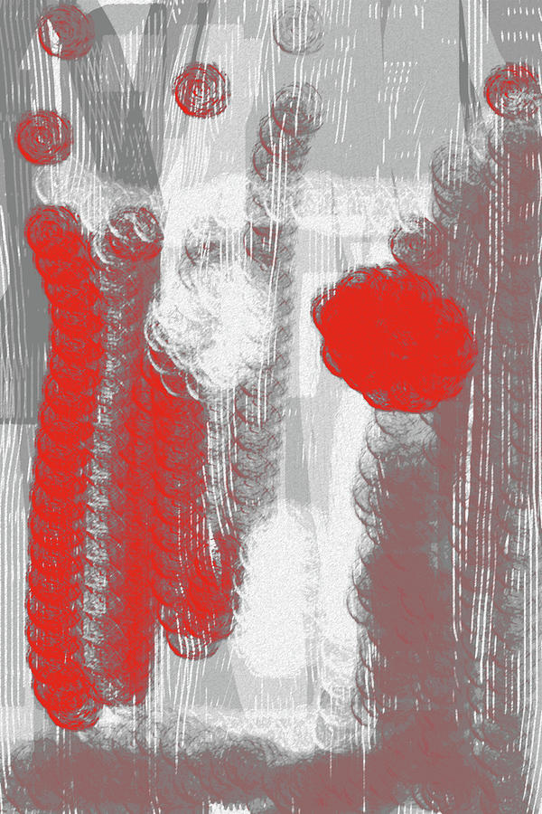 Grey And Terracota Abstract Digital Art