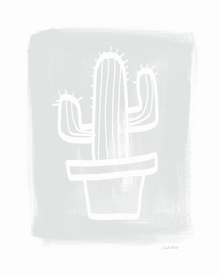 Cactus Painting - Grey and White Cactus- Art by Linda Woods by Linda Woods