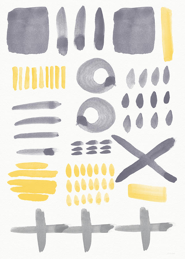 Grey And Yellow Painting - Grey And Yellow Shapes- Abstract Painting by Linda Woods