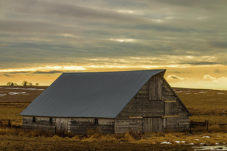 Grey Barn And Sky Photograph