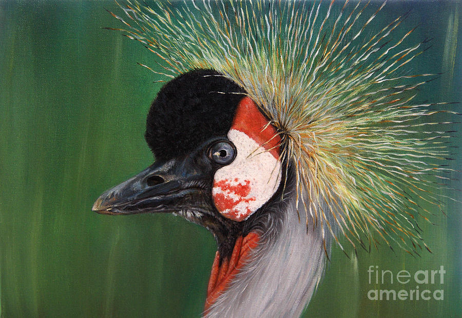 Bird Painting - Grey Crowned Crane - Oil On Canvas by Svetlana Ledneva-Schukina
