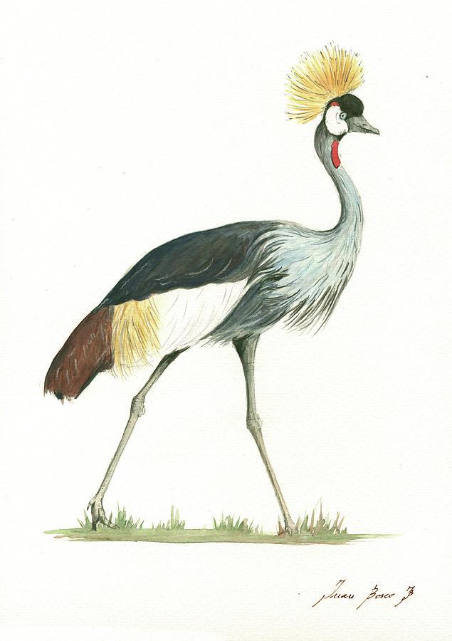 Grey Crowned Crane Painting - Grey Crowned Crane by Juan Bosco
