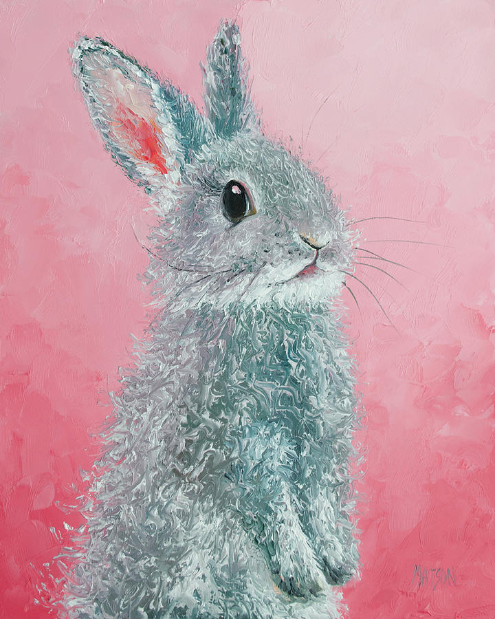 Rabbit Painting - Grey Easter Bunny by Jan Matson