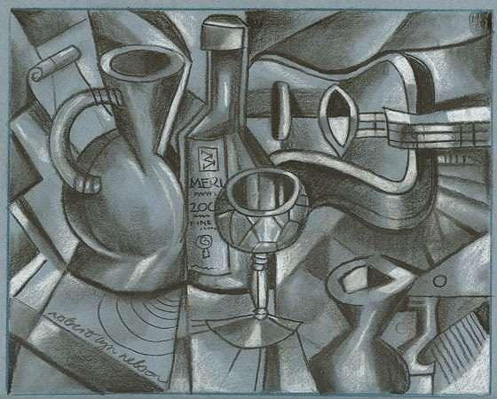 Guitar Drawing - Grey Guitar by Robert Lyn Nelson