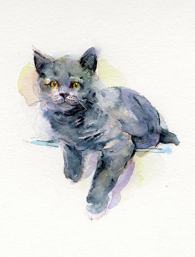 Gray Painting - Grey Kitten by John Keeling