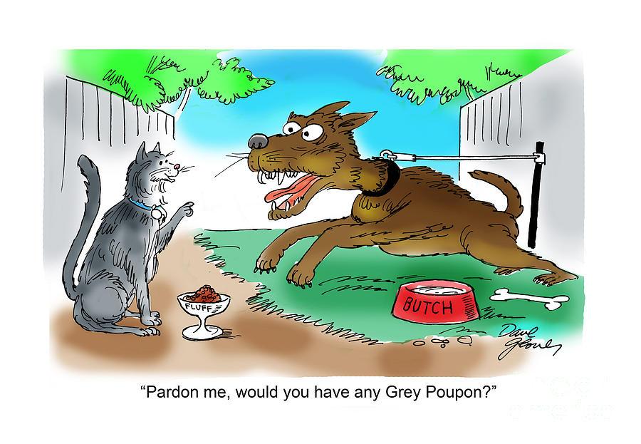 Cats Drawing - Grey Poupon by David Lloyd Glover