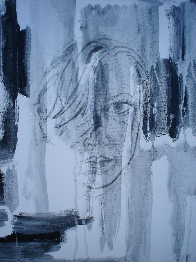 Grey Self Painting by Amanda Prairiewind Hess